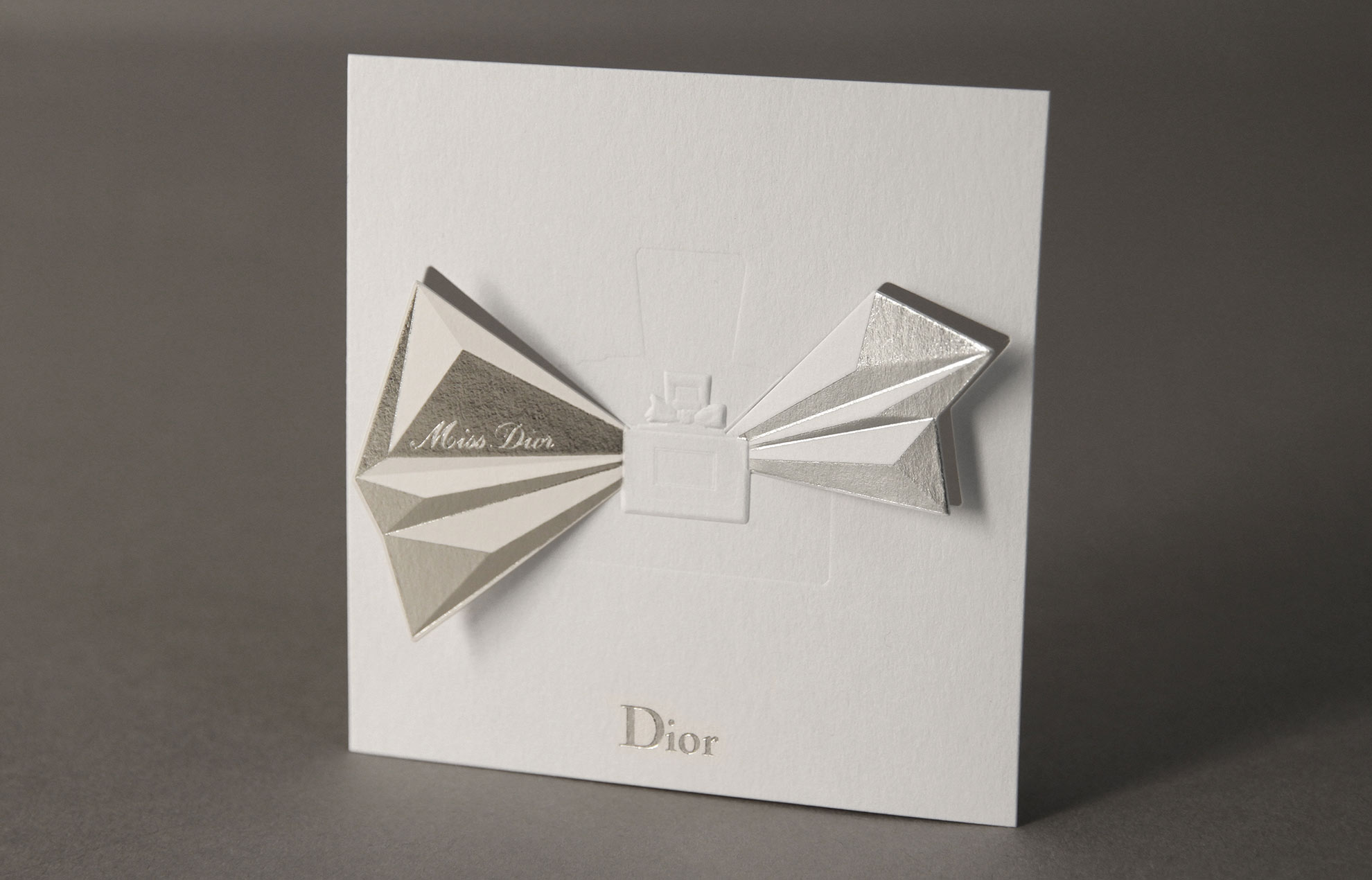 Miss Dior blotter : embossing, hot stamping, cutting